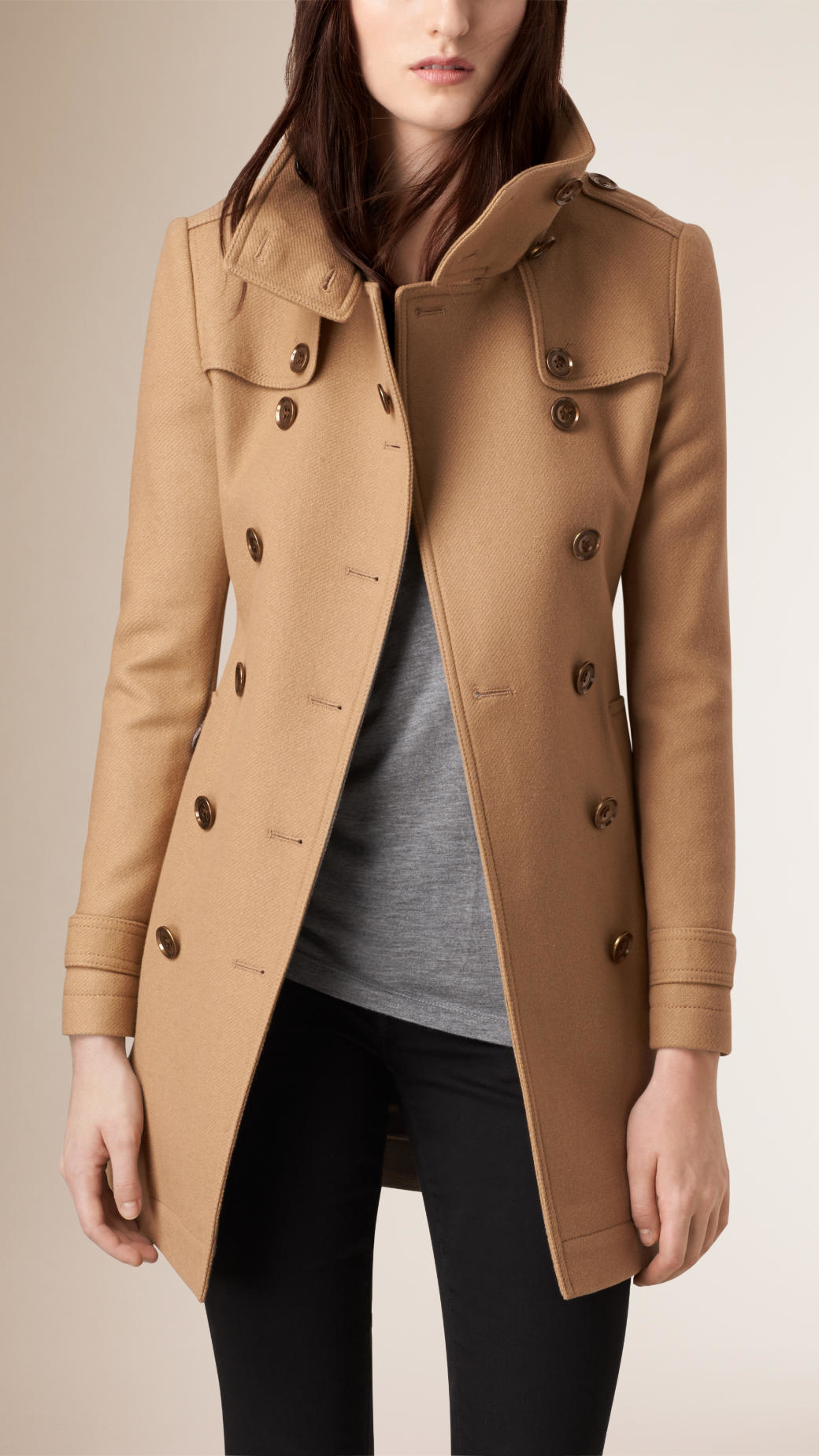 12751f3fd Burberry Short Double Wool Twill Trench Coat in Brown - Lyst