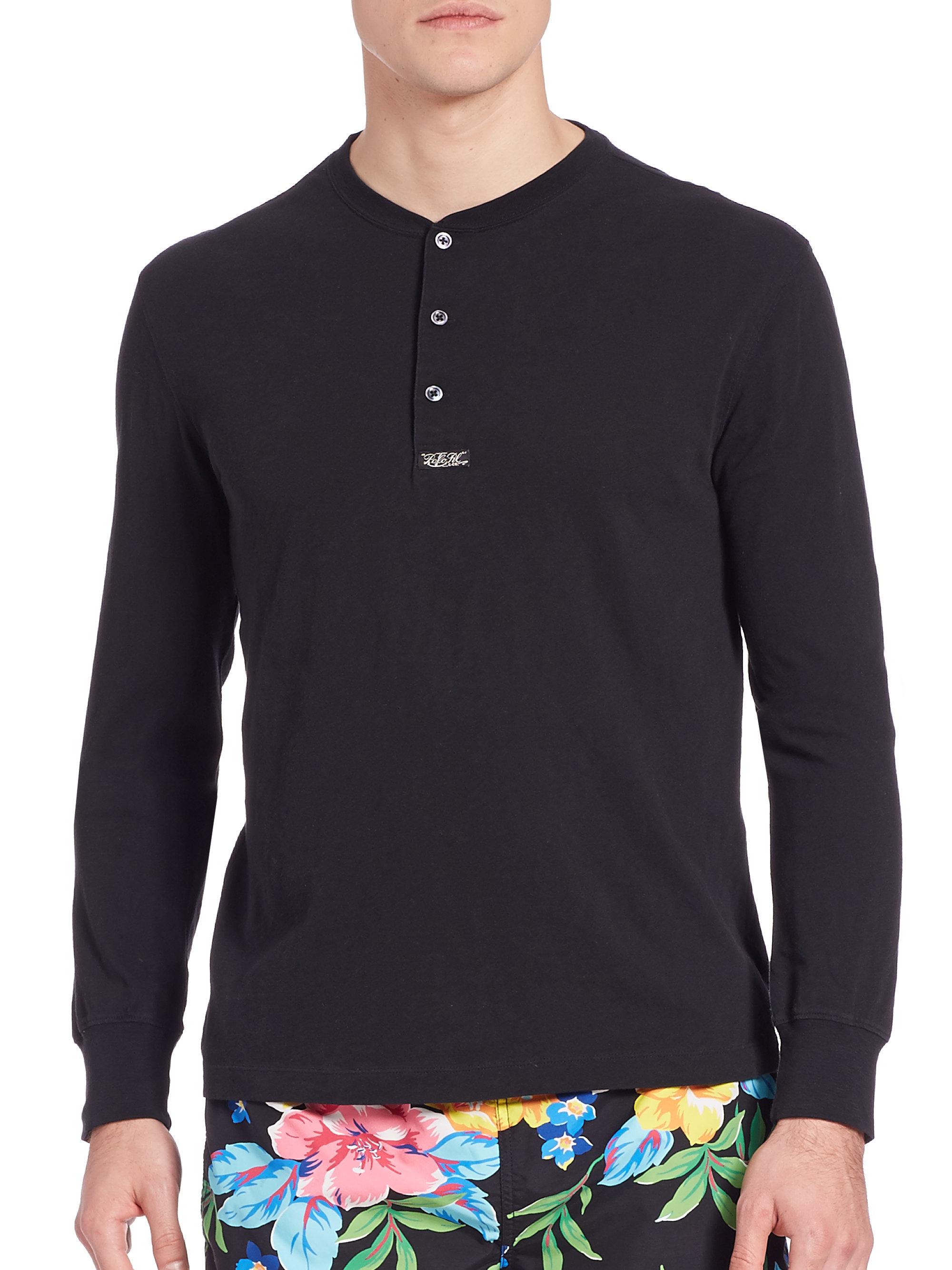 Lyst - Polo Ralph Lauren Long Sleeve Henley in Black for Men d6632d751