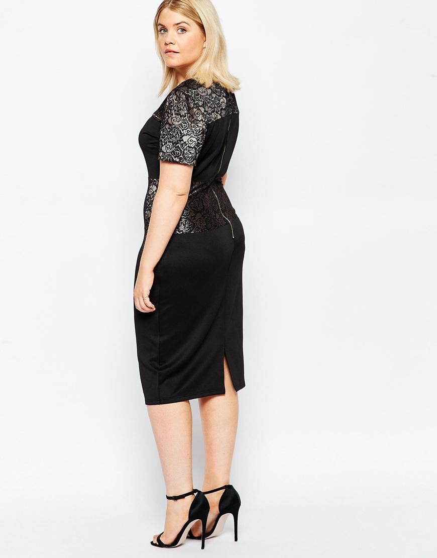Lyst Club L Plus Size Midi Dress With Metallic Lace