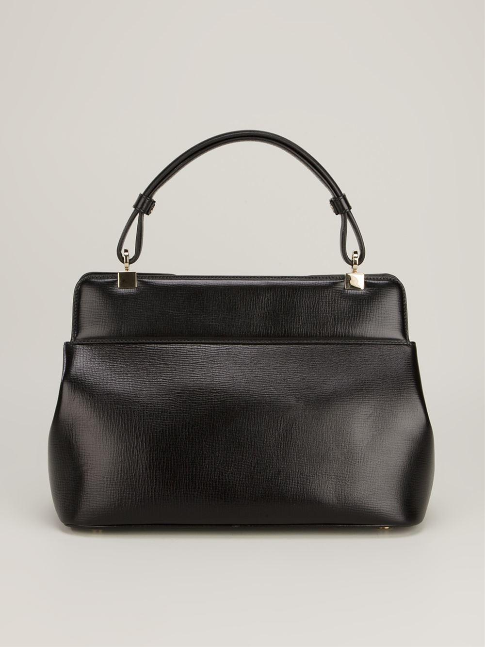 BVLGARI Isabella Rossellini Leather Tote in Black
