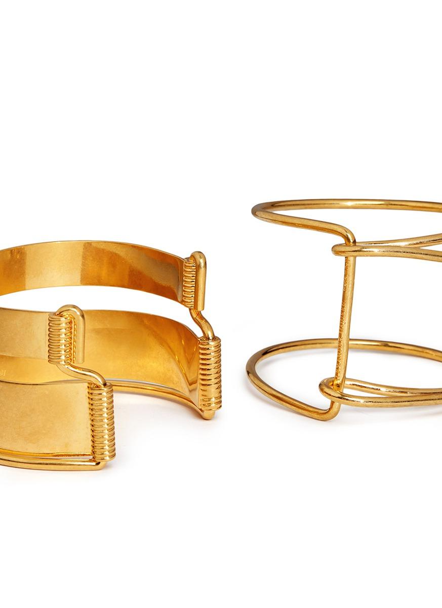Alexander McQueen Half Arm Four Cuff Set in Metallic