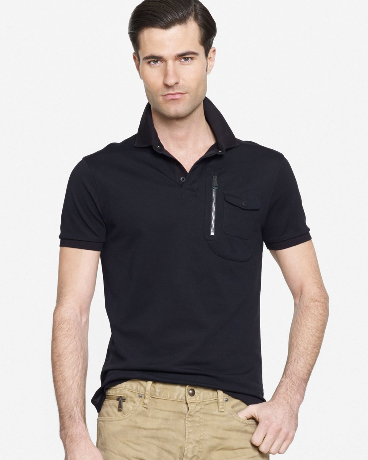 Lyst ralph lauren black label moto slim fit polo shirt for Black fitted polo shirt