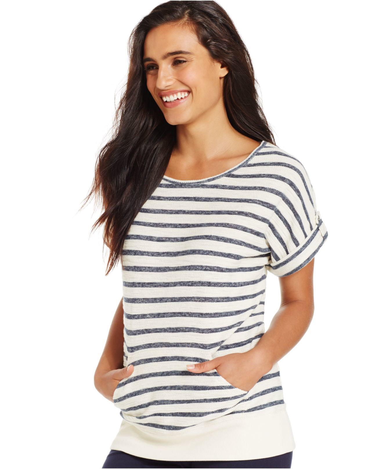 Style Co Sport Petite Short Sleeve Striped Sweatshirt In Natural Lyst