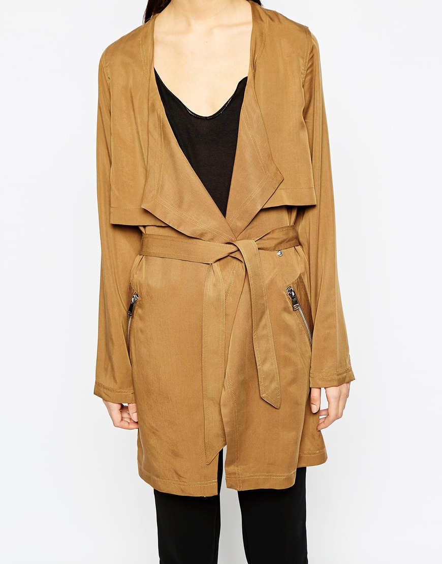vero moda belted trench coat in brown lyst. Black Bedroom Furniture Sets. Home Design Ideas
