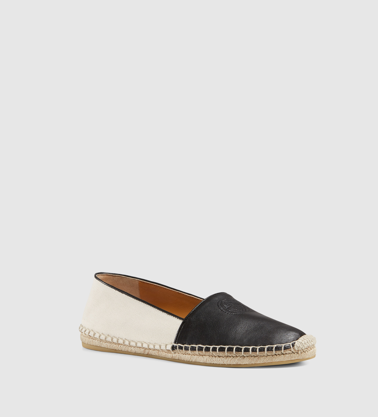 acc8985d977 Lyst - Gucci Canvas And Leather Slip-on Espadrille in Black