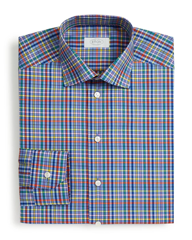 Eton of sweden bright multi check dress shirt slim fit for Bright mens dress shirts