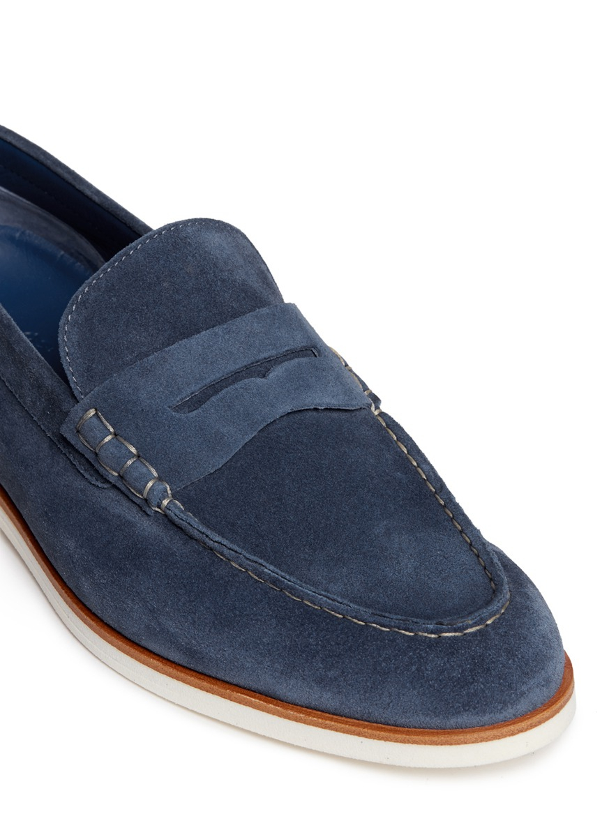 Canali Suede Penny Loafers in Blue for Men - Lyst