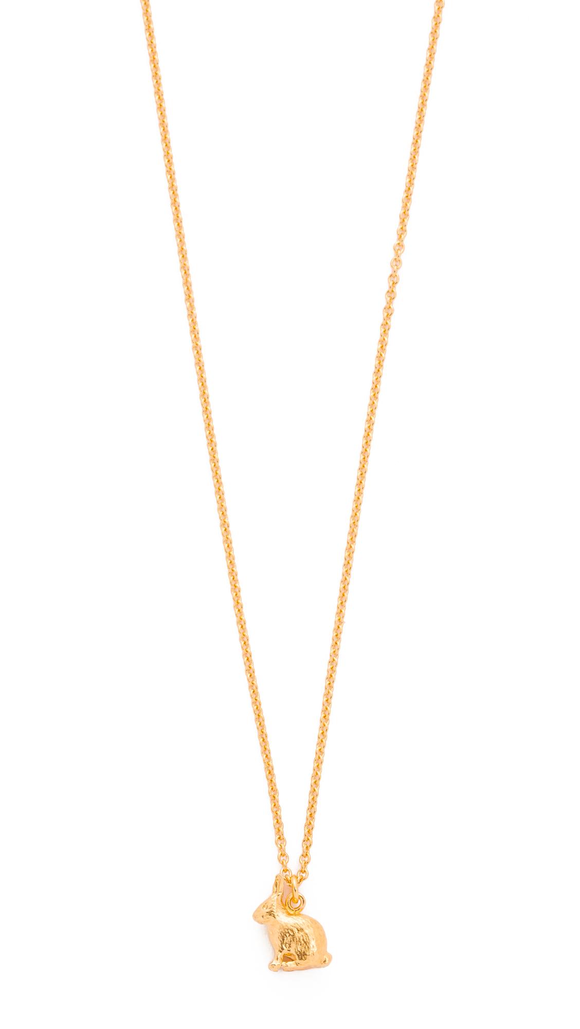 Alex monroe Sitting Bunny Necklace in Metallic