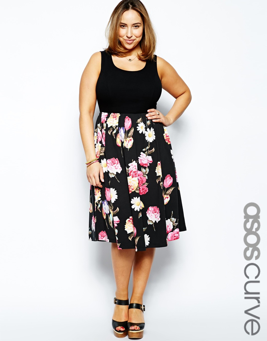 Lyst - ASOS Skater Dress with Floral Skirt and Rib Top Longer Length ... c77df5f3d