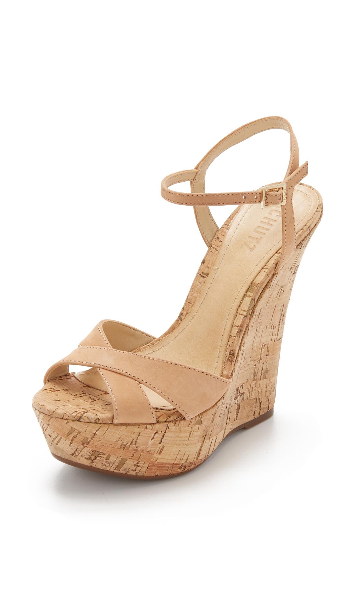0c312761a9 Schutz Emiliana Wedge Sandals in Brown - Lyst