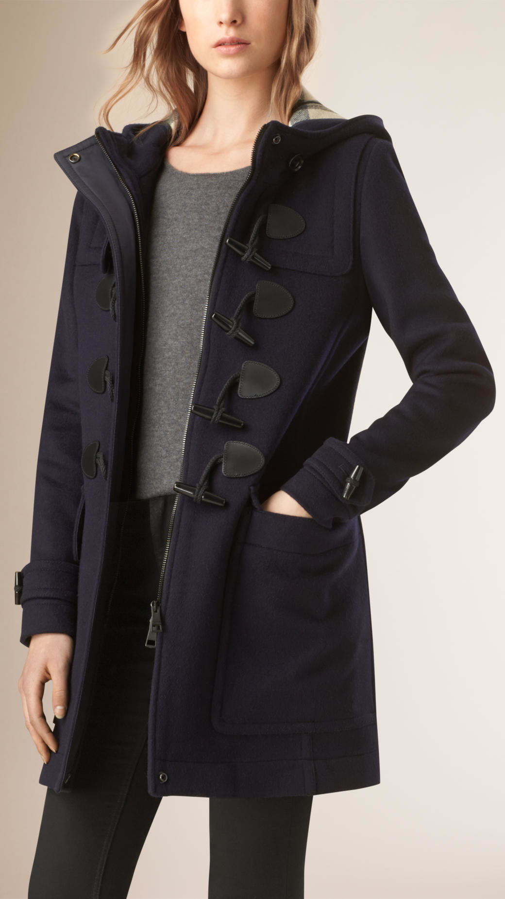 Burberry Straight Fit Duffle Coat Dark Indigo in Blue | Lyst