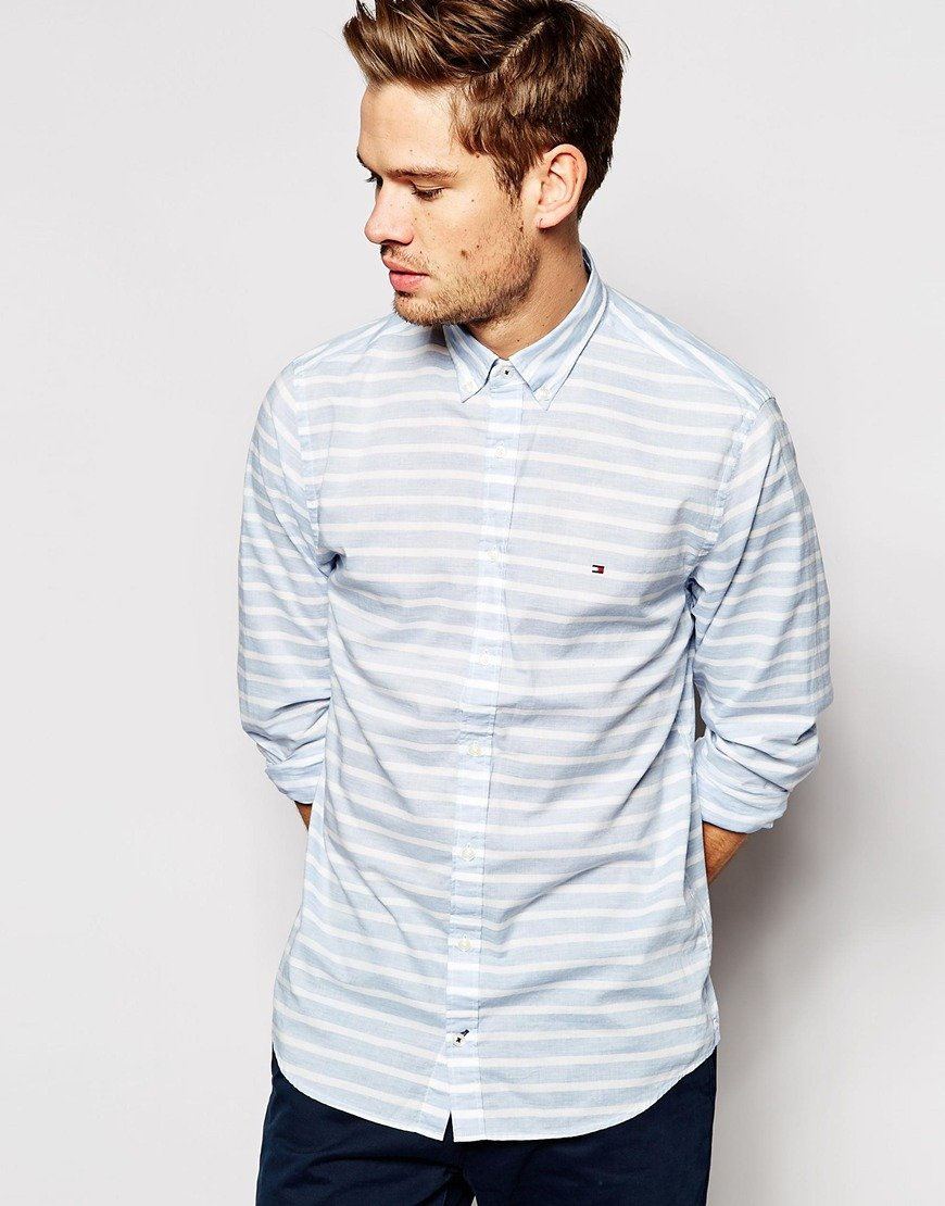 Tommy hilfiger shirt with horizontal stripe in blue for for Horizontal striped dress shirts men