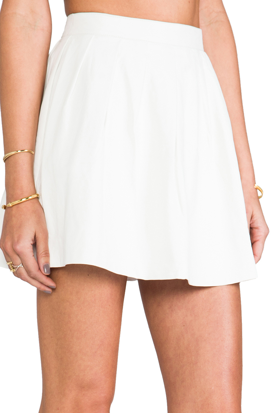 This is a love song Strike Plain Leather Mini Skirt in White | Lyst