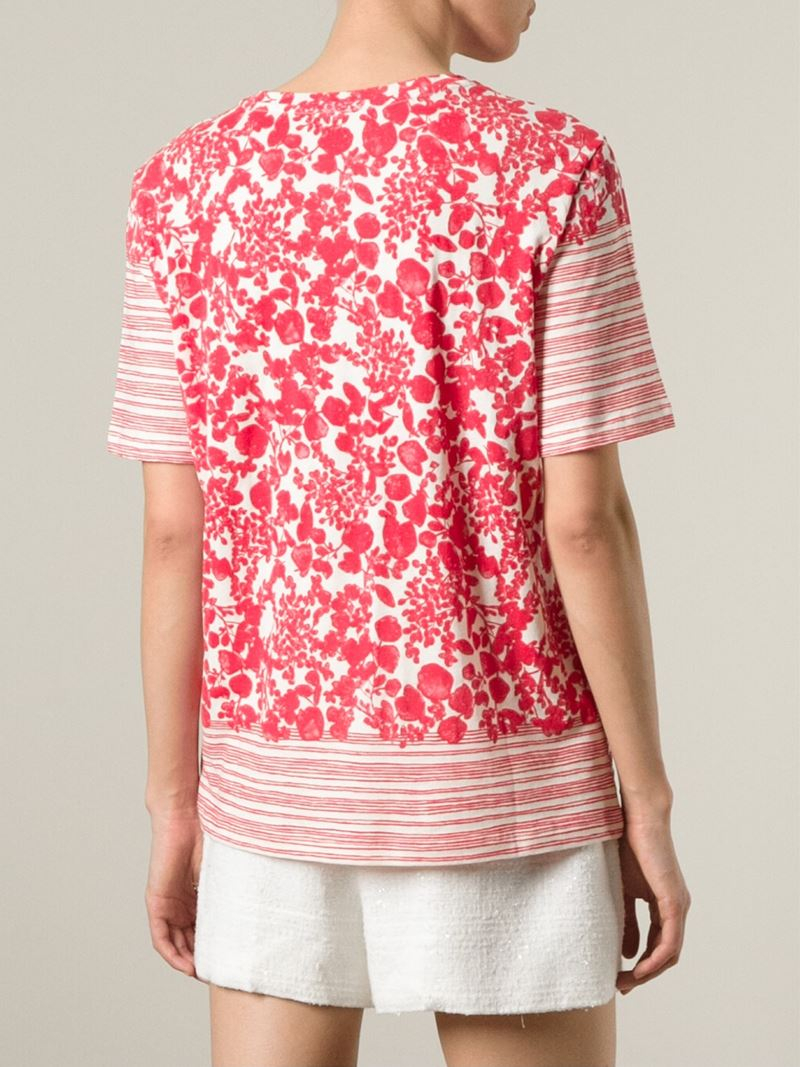 Lyst Tory Burch Striped Leaf Print T Shirt In Red