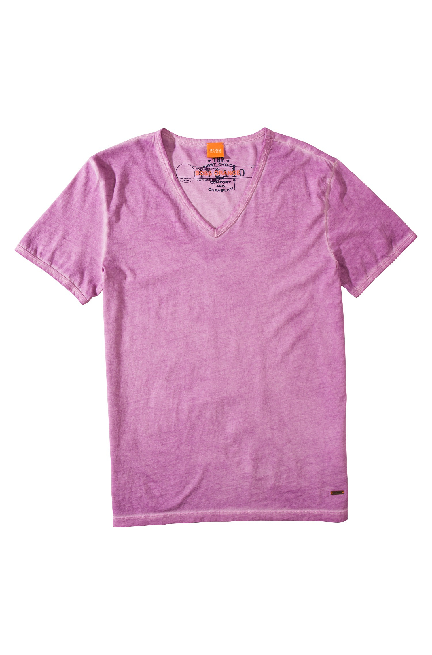 Boss Orange 39 Toulouse 39 Cotton V Neck T Shirt In Purple