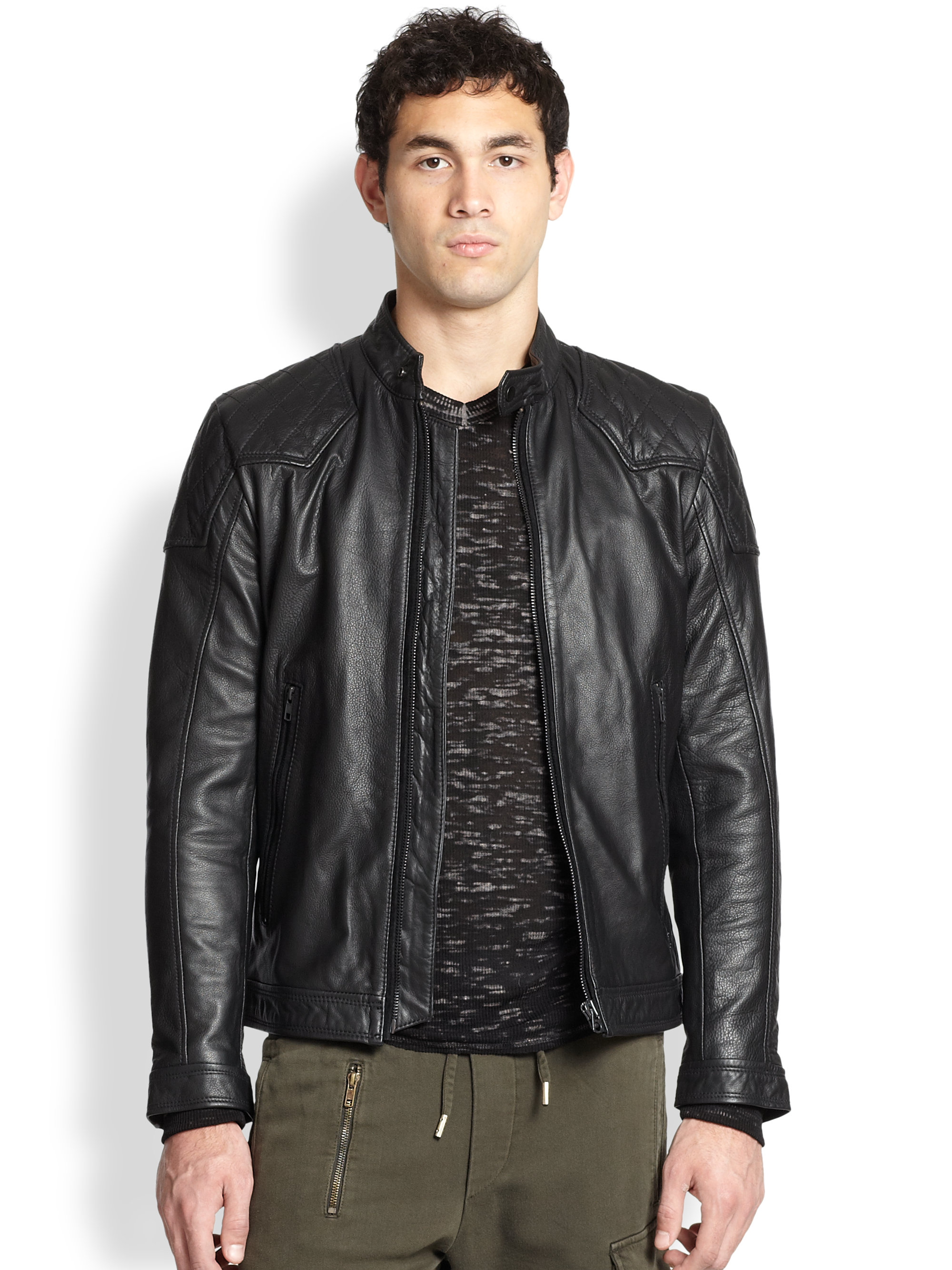 Diesel Leather Bomber Jacket in Black for Men | Lyst