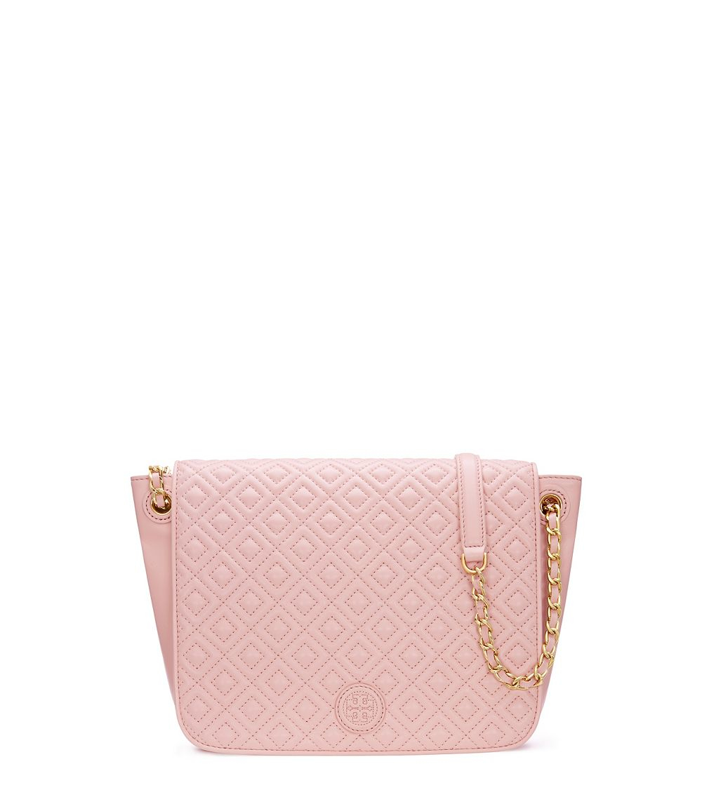 Tory burch Marion Quilted Small Flap Shoulder Bag in Pink | Lyst