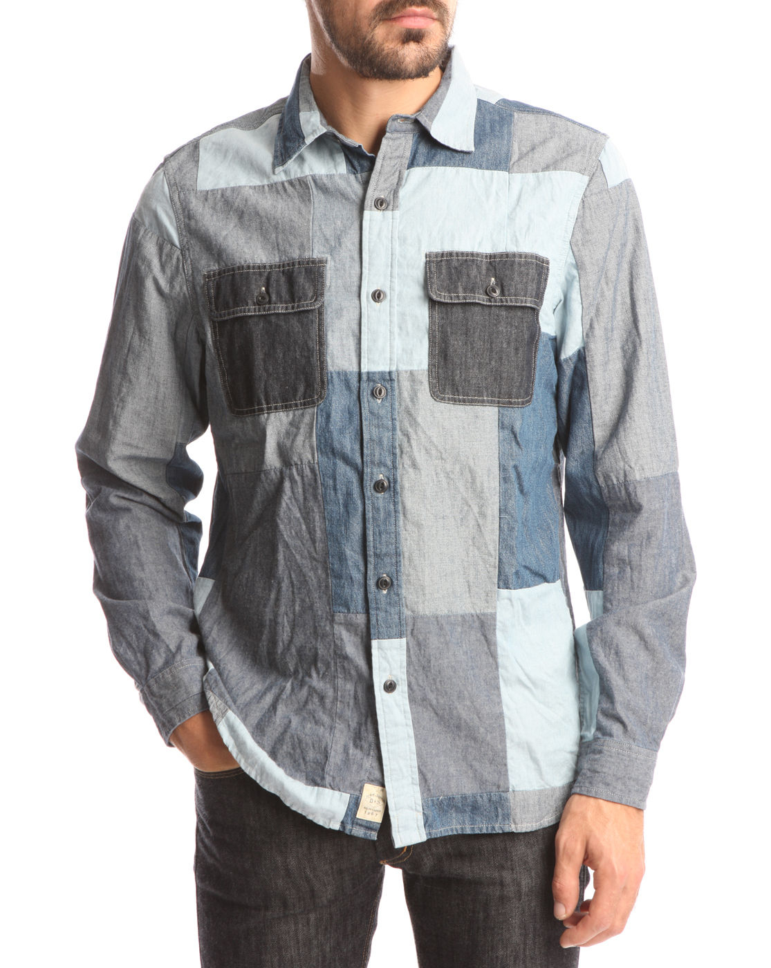 denim supply ralph lauren blue patchwork shirt in blue for men lyst. Black Bedroom Furniture Sets. Home Design Ideas