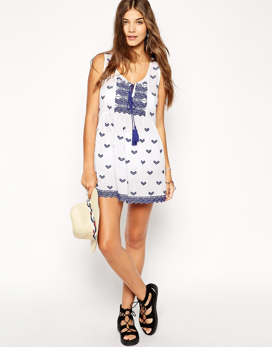 Lyst asos embroidered v neck smock beach dress in blue