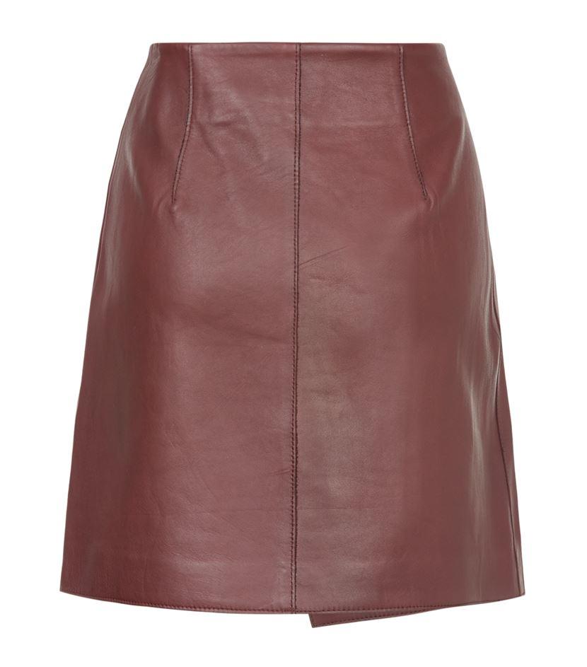 reiss rocket leather skirt in brown lyst