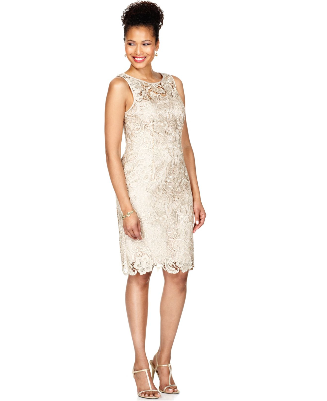 Adrianna Papell Lace Sheath Dress In Natural Lyst