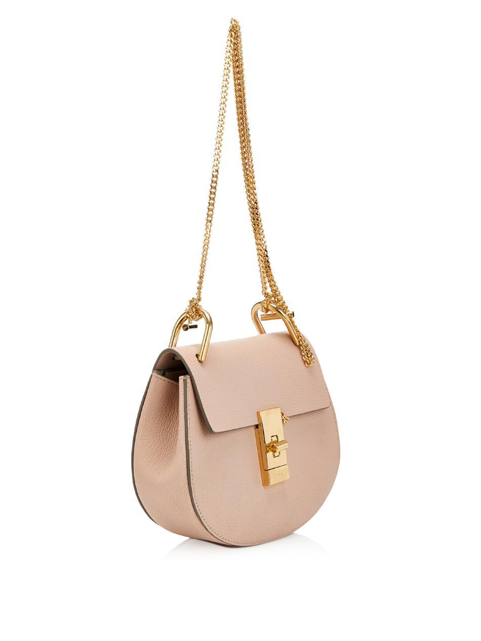 lyst chlo drew mini leather shoulder bag in pink. Black Bedroom Furniture Sets. Home Design Ideas
