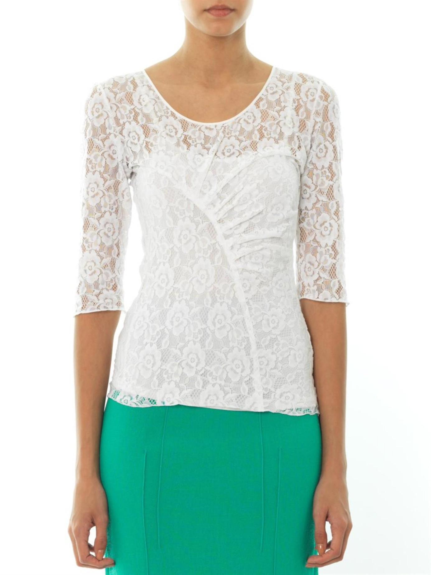 Nina ricci round neck sheer lace top in white lyst