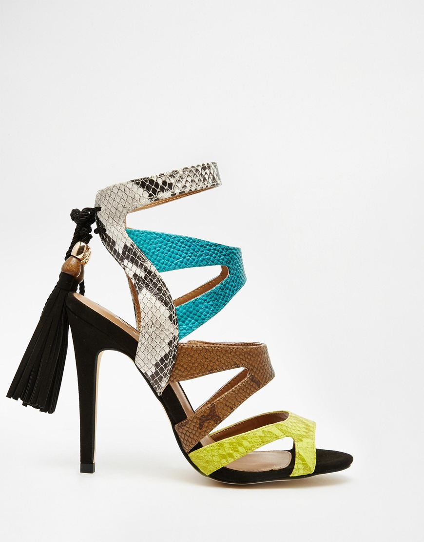 e982a76f8 Lyst - Miss Kg Forest Multi Colored Strappy Sandals