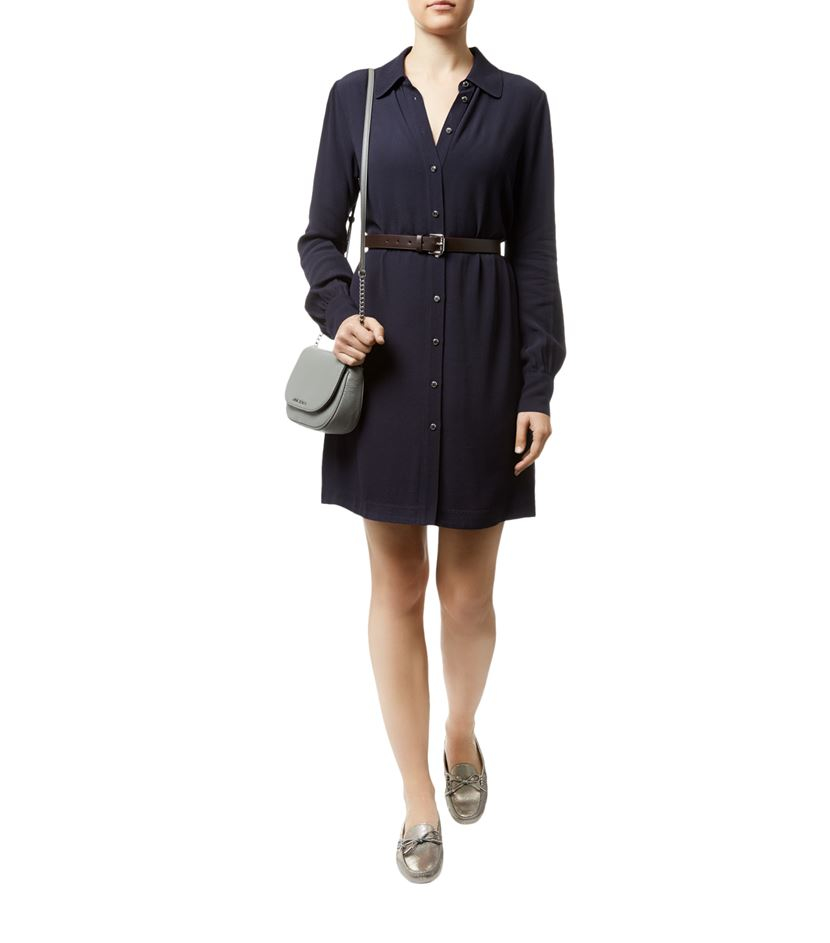 michael michael kors belted crepe shirt dress in black lyst