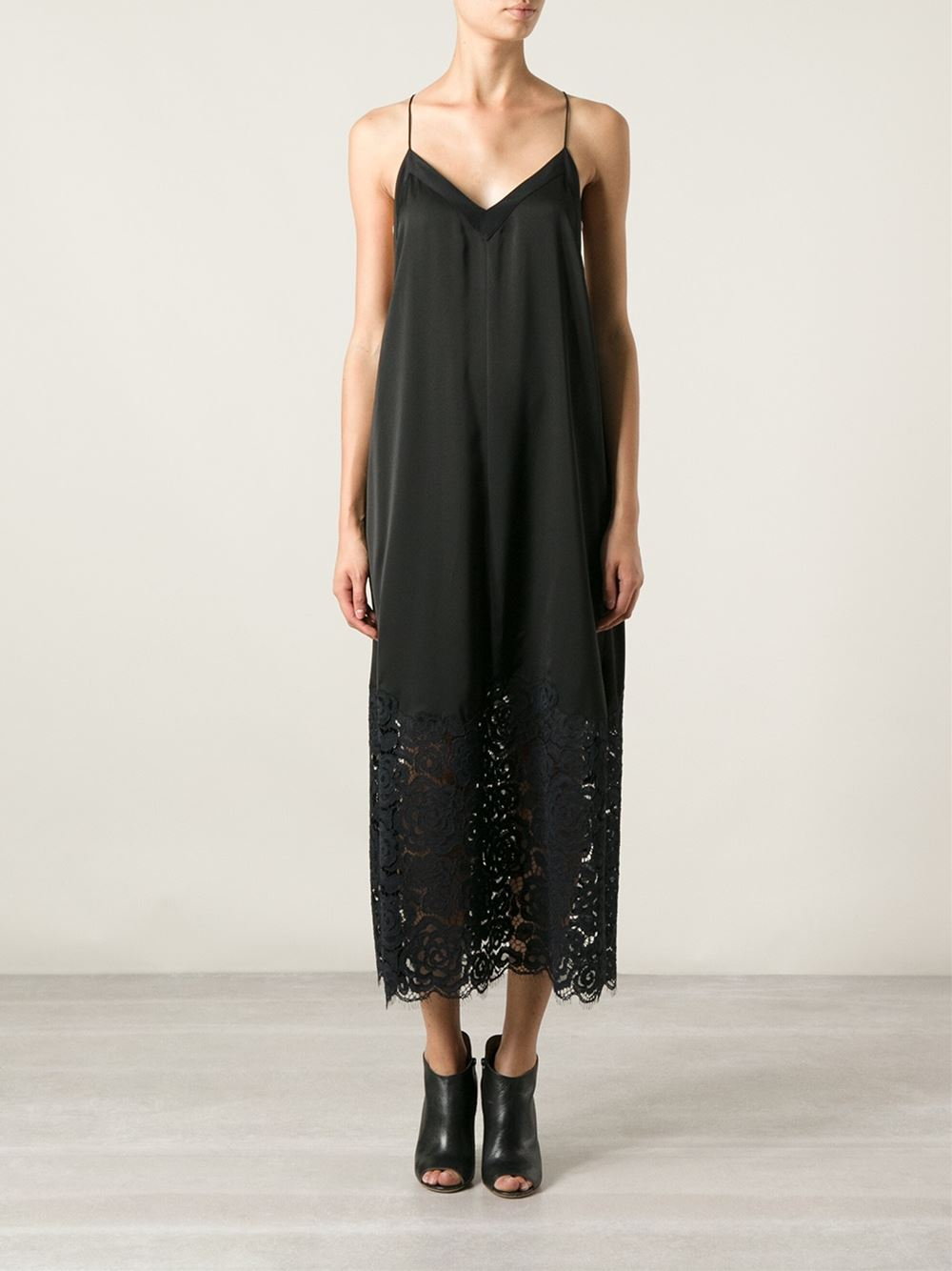Dkny Lace Insert Long Slip Dress In Black Lyst