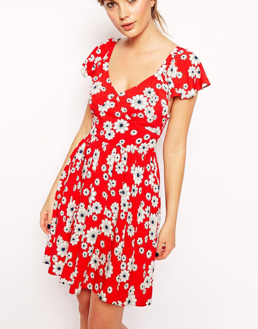 Asos Exclusive Ruffle Sleeve Tie Back Floral Skater Dress