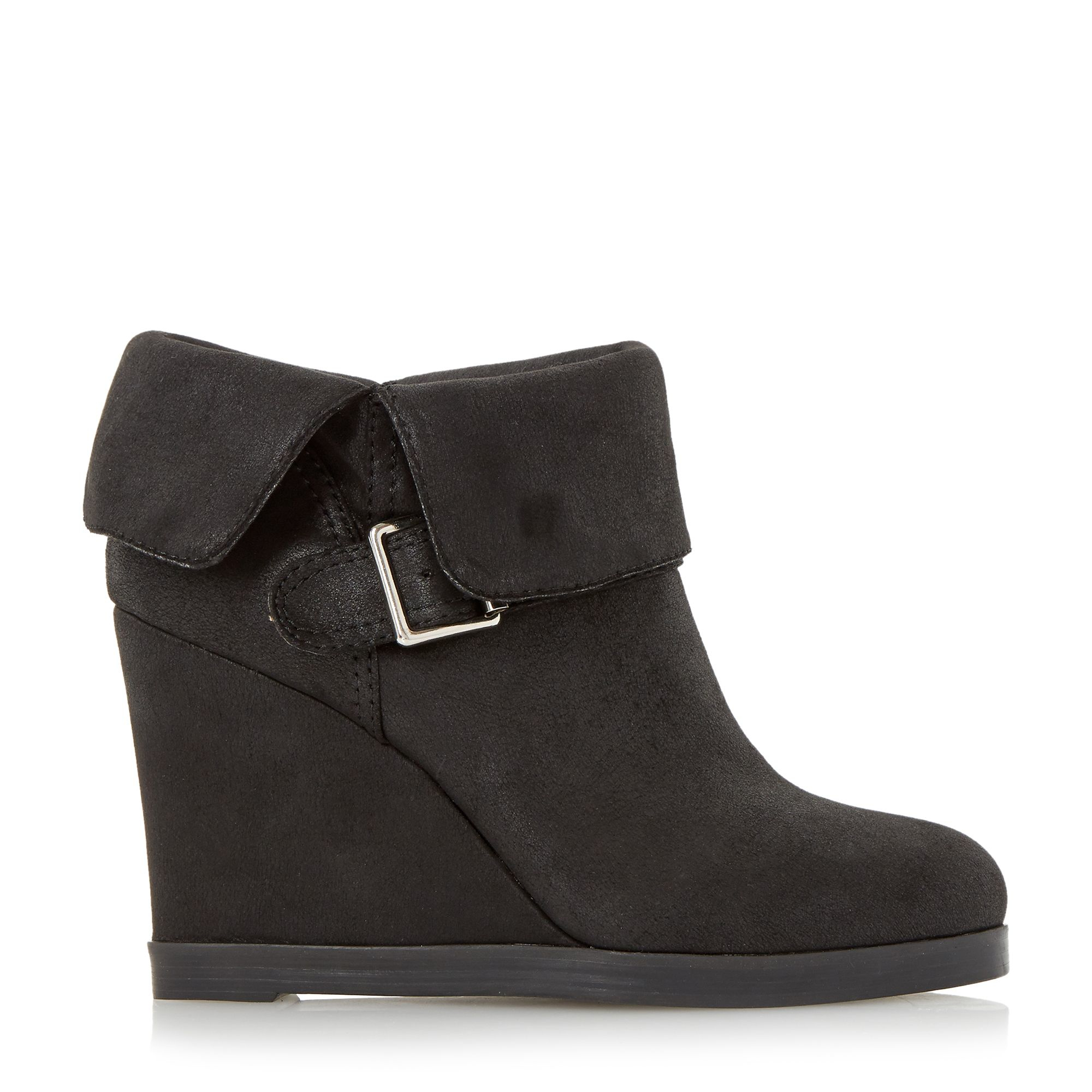 Dune Pindar Fold Down Wedge Heel Ankle Boots in Black | Lyst