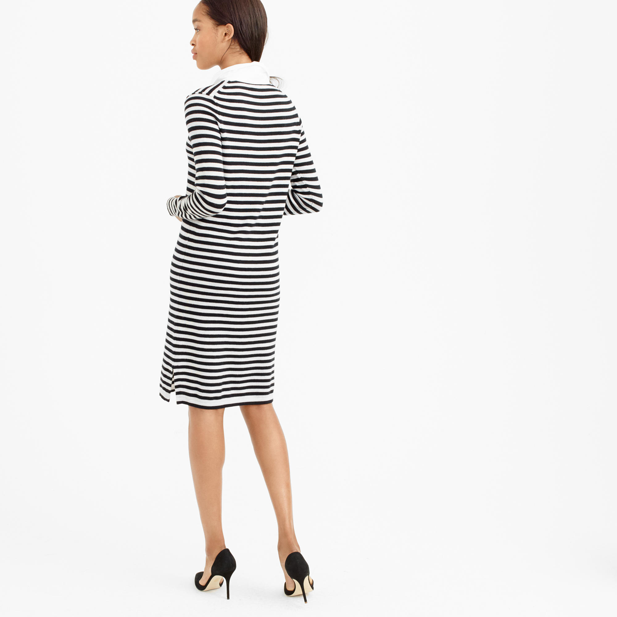 Striped Dress crew Black In Wool Lyst J Polo Merino Sweater vbf76yYgI