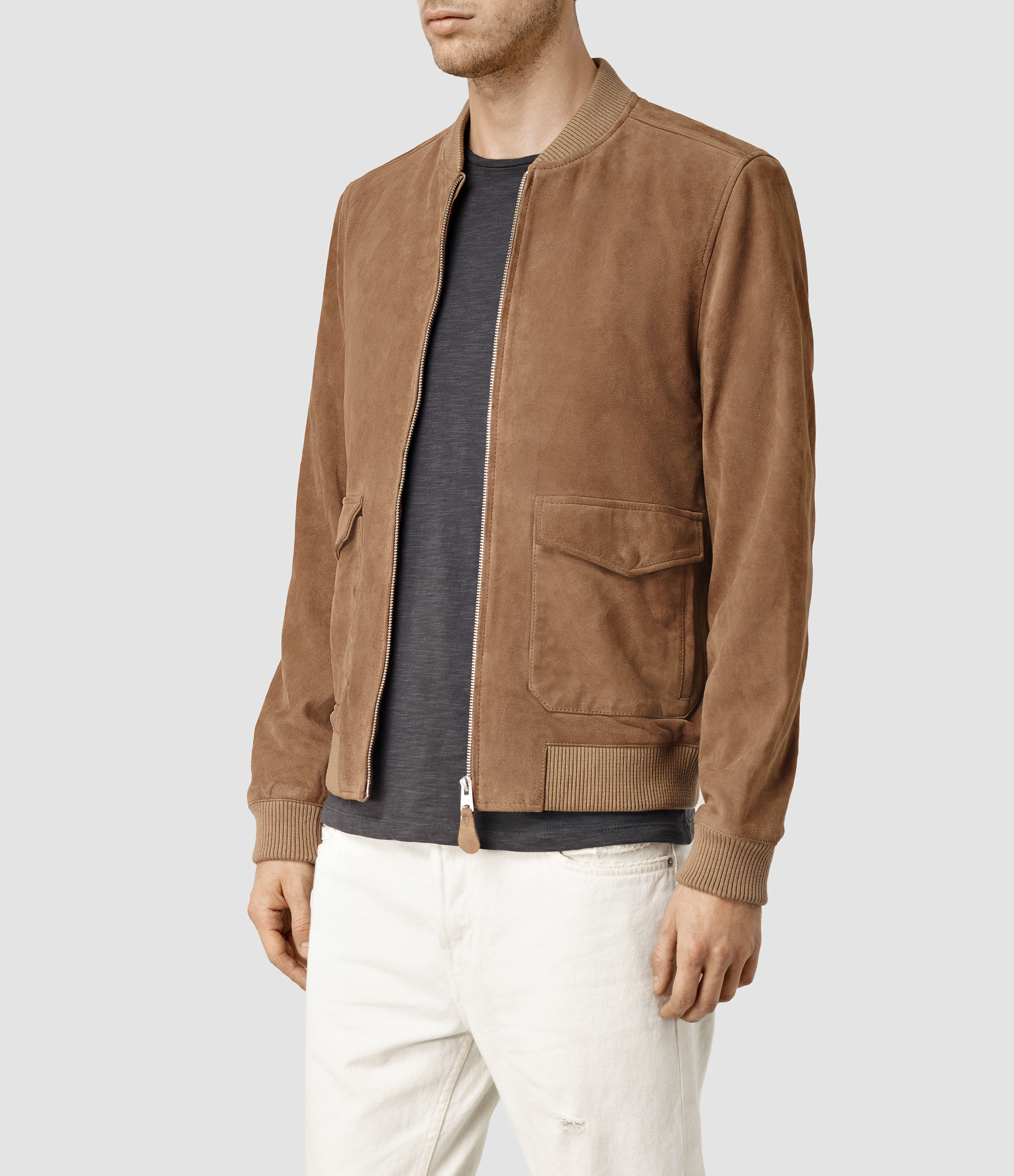 AllSaints Bloomington Leather Bomber Jacket Usa Usa in Sand Brown (Brown) for Men