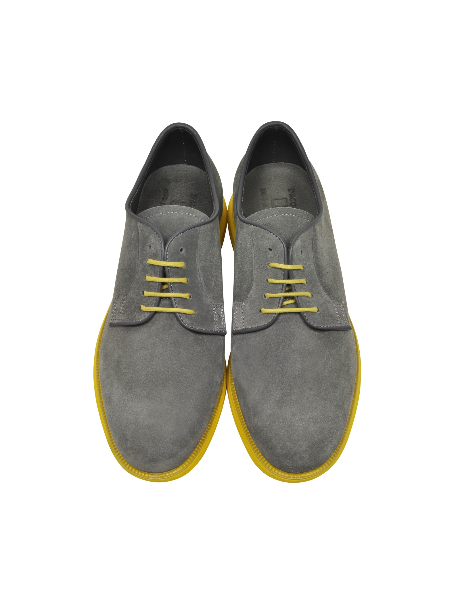 Lyst D Acquasparta Gray Suede Oxford W Yellow Rubber