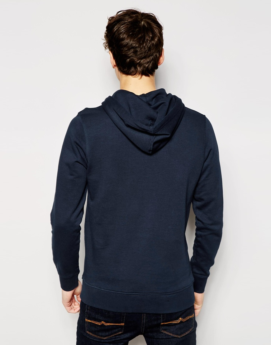 jack jones blue overhead hoodie with flock print for men lyst. Black Bedroom Furniture Sets. Home Design Ideas