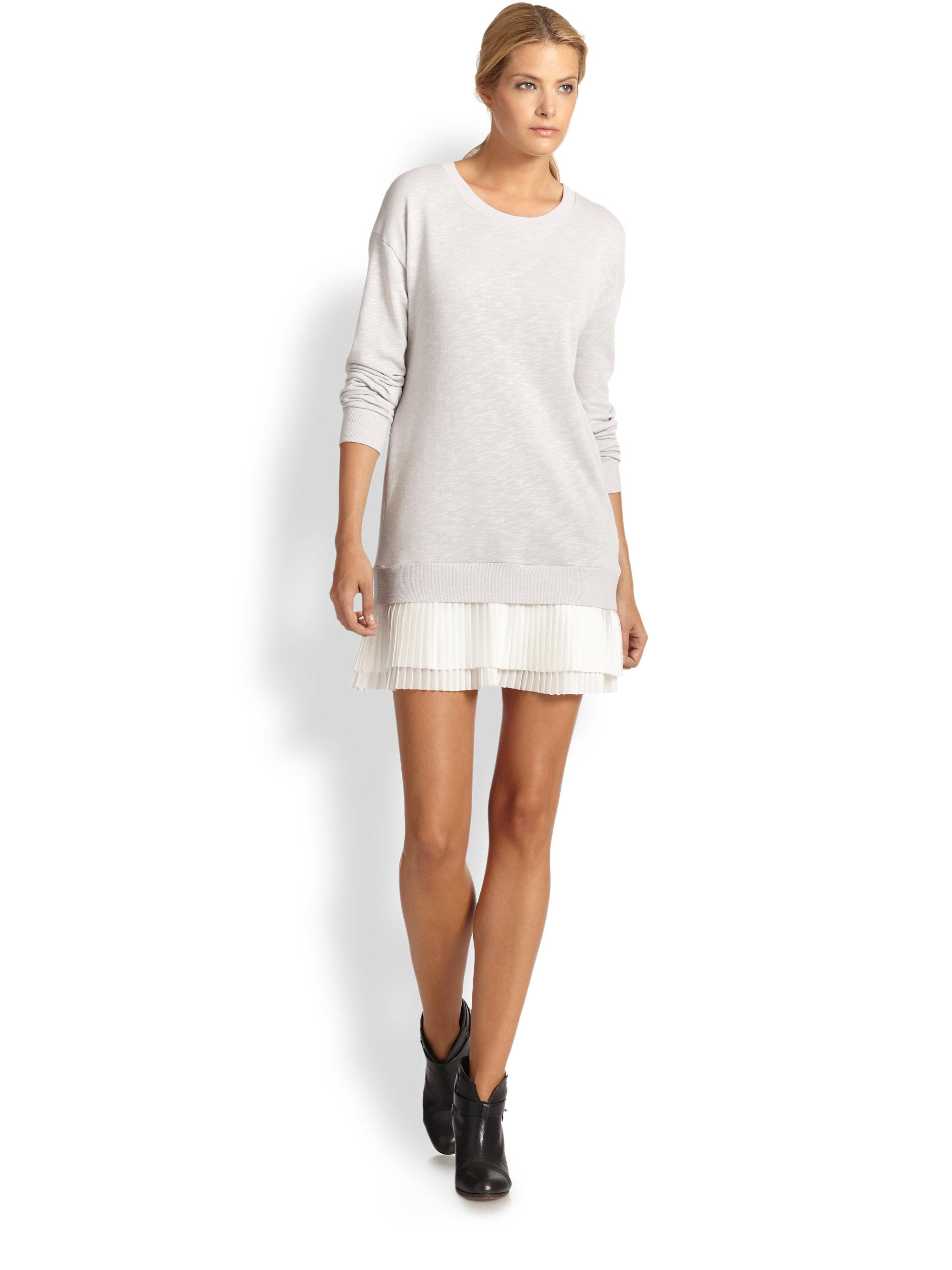 Lyst Clu Pleated Silk Trimmed Sweatshirt Dress In Gray