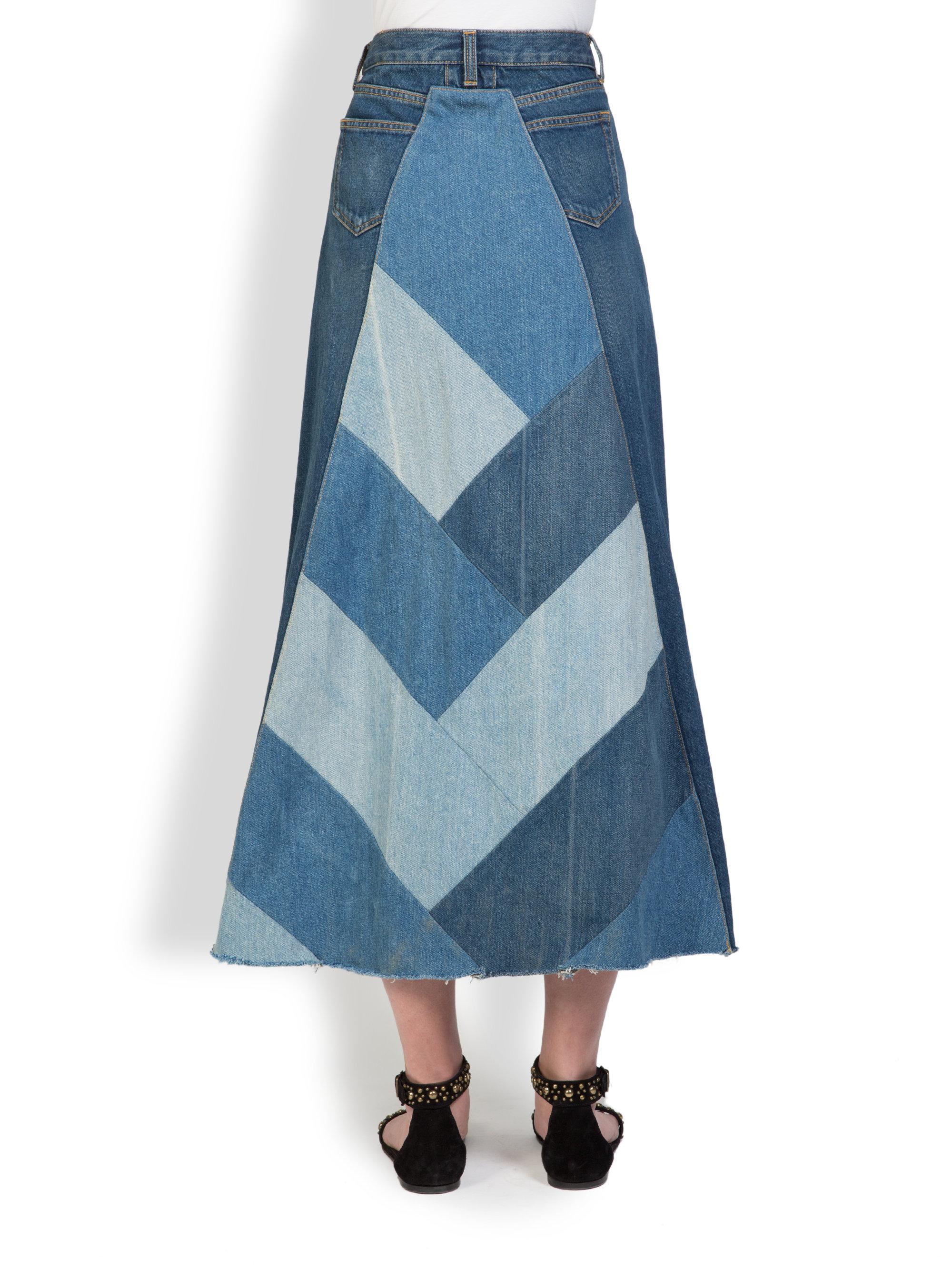 laurent denim patchwork maxi skirt in blue lyst