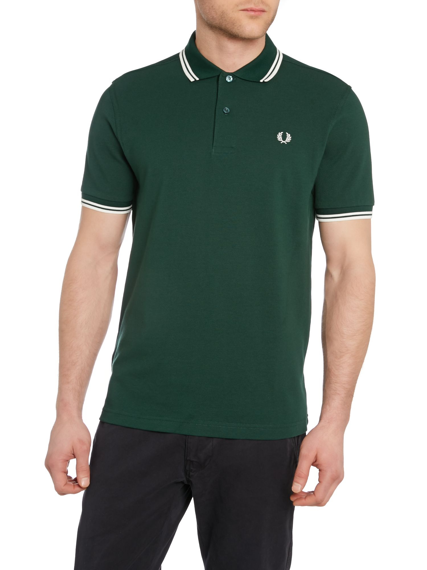 Fred perry twin tipped regular fit polo shirt in green for for Dark green mens polo shirt