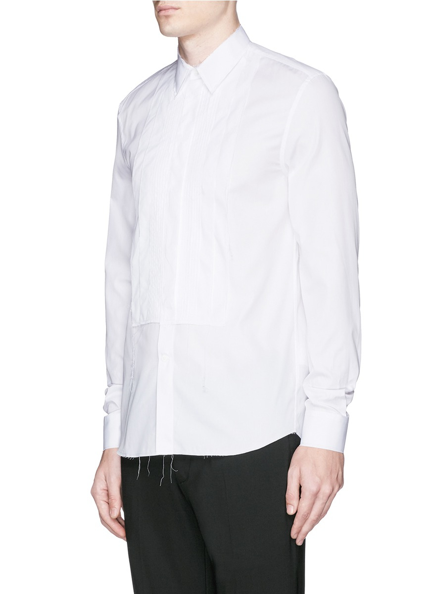 Lyst givenchy raw edge bib cotton poplin shirt in white for What is a poplin shirt