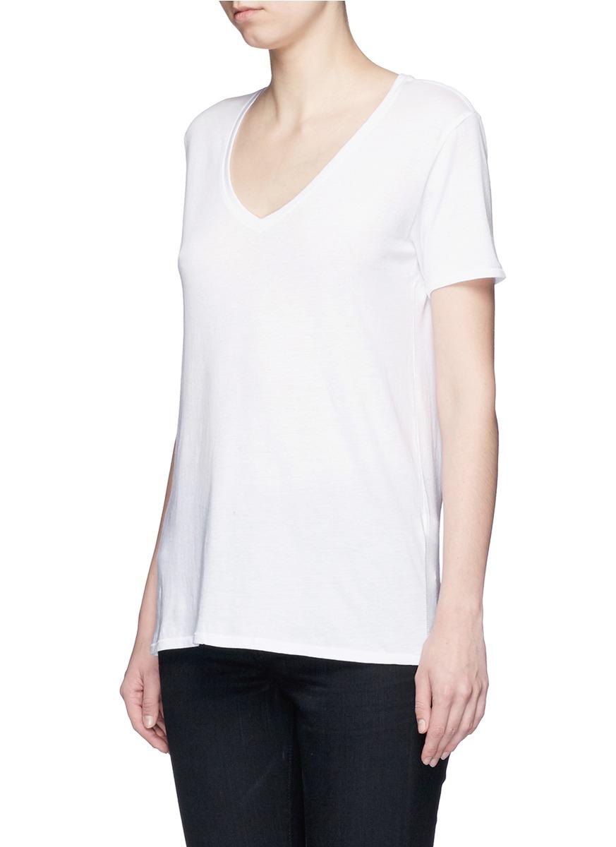 Rag bone 39 base 39 v neck t shirt in white lyst for Rag and bone white t shirt
