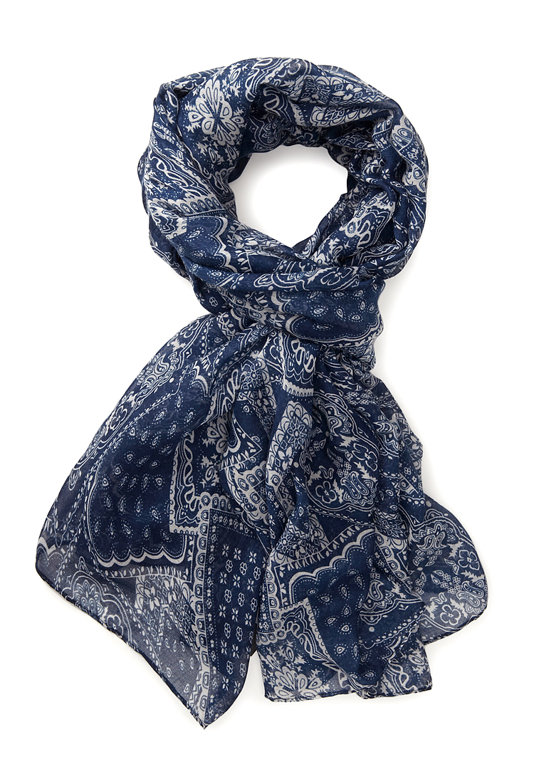 Forever 21 Cool Bandana Print Scarf In Navy Cream Blue