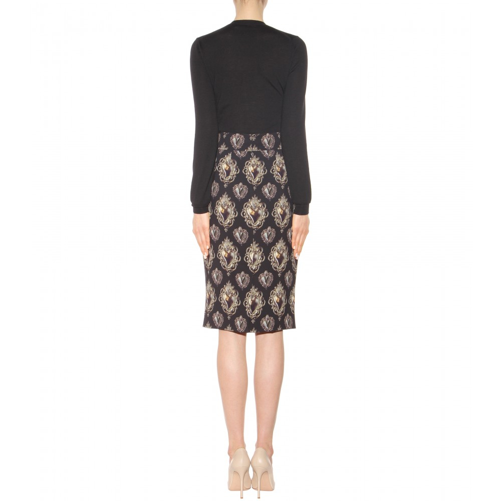 dolce gabbana printed pencil skirt in black lyst