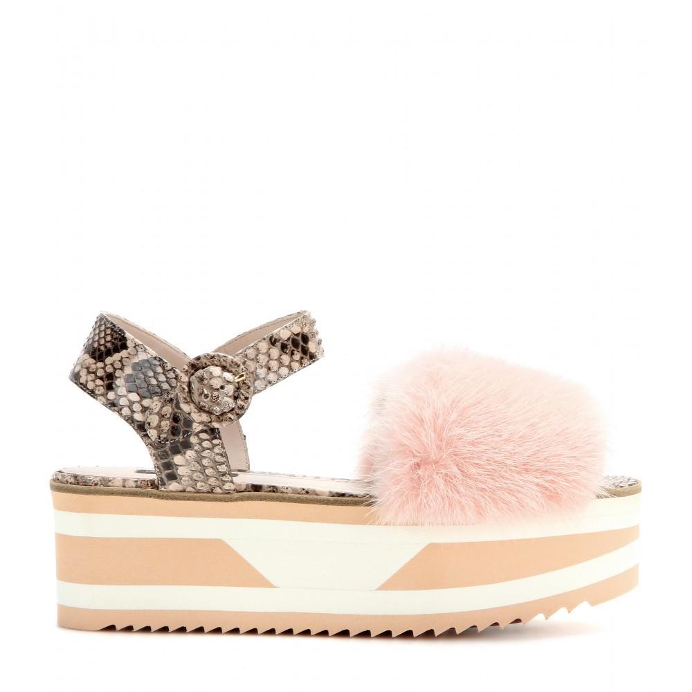 genuine for sale outlet latest Dolce & Gabbana Snakeskin-Trimmed Platform Sandals how much for sale visit new for sale CsqW9Kl0