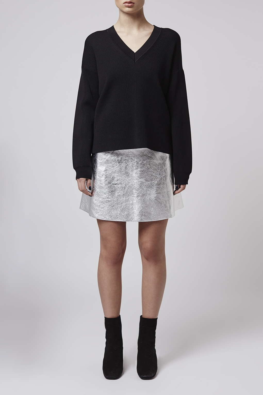 topshop leather circle skirt by boutique in metallic lyst