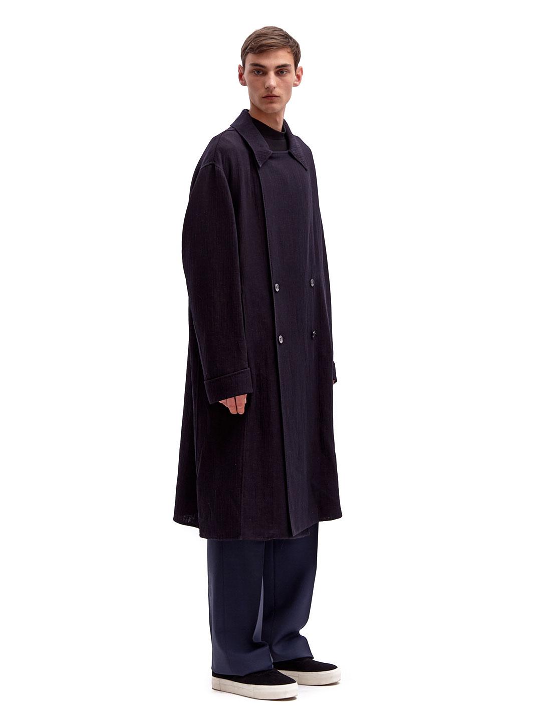 Yang li Mens Oversized Virgin Wool Linen Trench Coat in ...