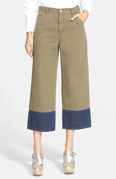 Rachel comey 'fracture' Cropped Wide Leg Chinos in Green | Lyst
