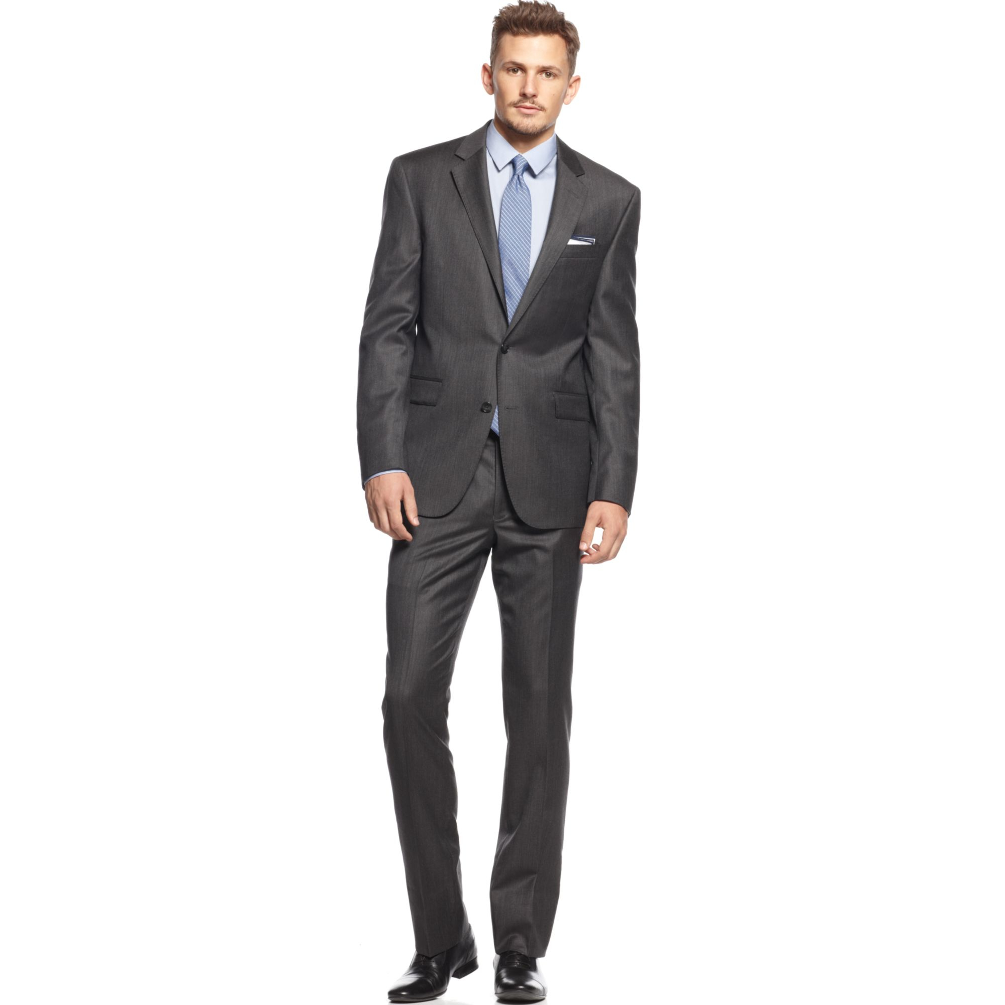 Kenneth cole Charcoal Texture Slim-Fit Suit in Gray for ...