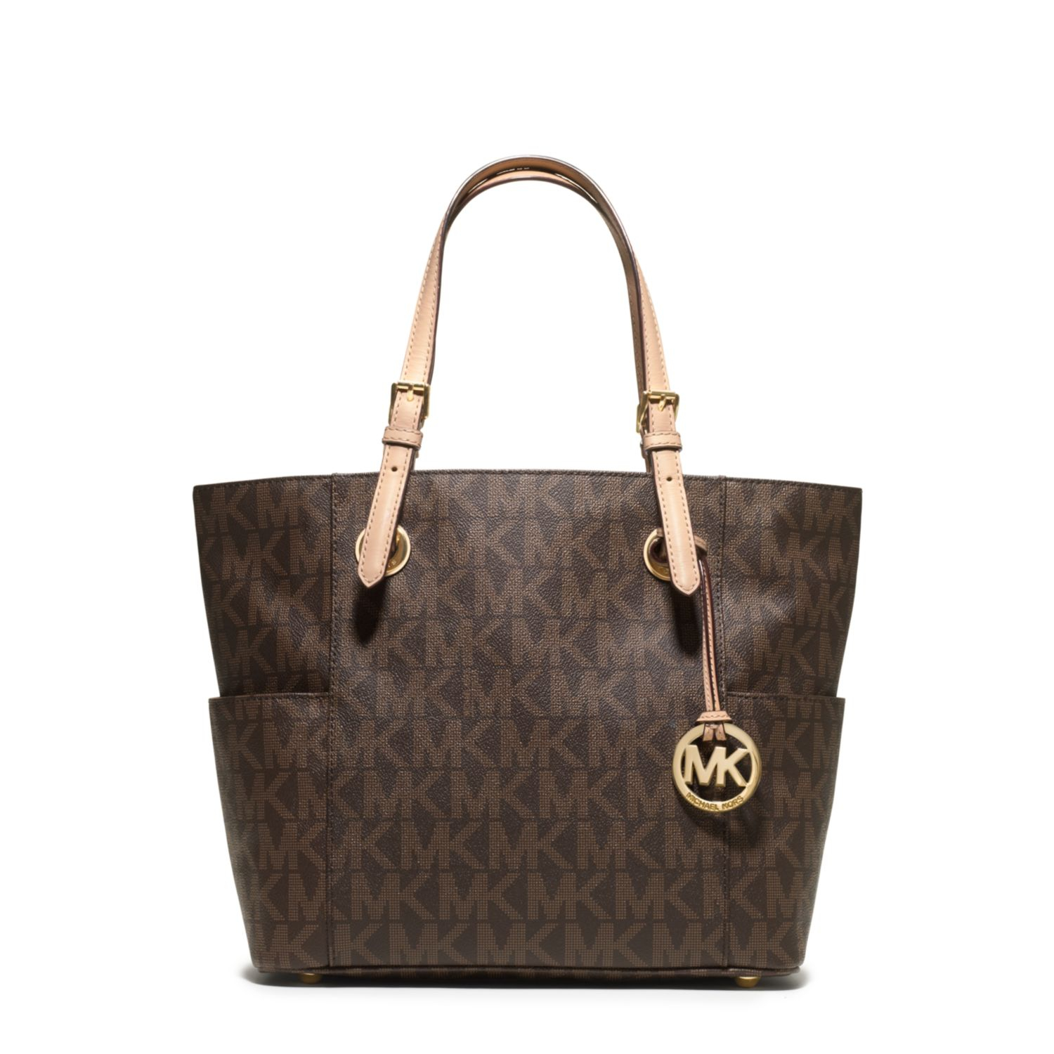 michael kors jet set logo tote in brown lyst. Black Bedroom Furniture Sets. Home Design Ideas