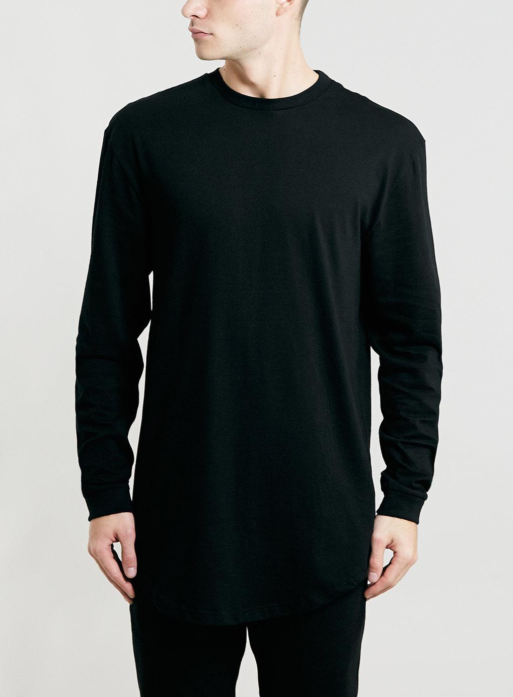 Lac bk longer length long sleeve t shirt in black for men for Long length long sleeve t shirts